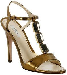 Prada Bronze Mirror Leather Stone Tstrap Sandals in Gold