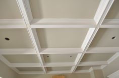 Coffered Ceiling for the den Wainscoting, Ceiling Beadboard, Door Casing, Floor Ceiling, House Inside, Bungalow, Bookcase, House Design, Shelves