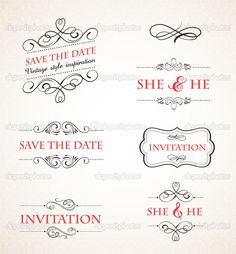 Vintage wedding invitations vector set - Stock Illustration: 25513085