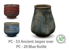 Photo of cup glazed with PC-53 Ancient Jasper over PC-20 Blue Rutile