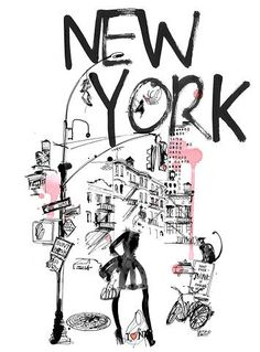 new york drawing black & white Illustration Megan Hess, New York Illustration, Travel Illustration, Design Graphique, Statements, Fashion Sketches, Illustrations Posters, Printed Shirts, Prints