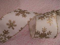 Ivory Burlap Ribbon with Gold Snowflakes Wired by TomaCraftPlace