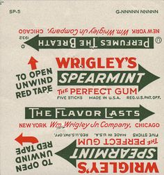 Wrigley's Spearmint Gum package wrapper - printer proof - 1932