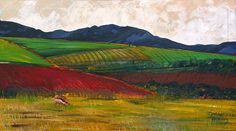 Overberg Landscape with sheep.  Acrylic on canvas.  90 x 50cm.  Private Collection: Elsabé & Robbie Taylor