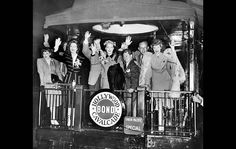 Judy Garland, Fred Astaire, Greer Garson, Dick Powell, Betty Hutton, Mickey Rooney, Kay Kyser and Lucille Ball leave for Washington to help in the Third War Loan campaign on Sept. 4, 1943.