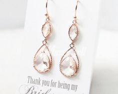 Rose Gold Peach Champagne Earrings Rose Gold Wedding Bridal