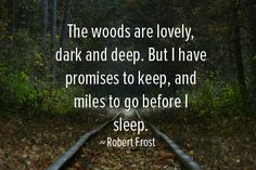 """The woods are lovely, dark, and deep, but I have promises to keep. And miles to go before I sleep. And miles to go before I sleep."""" - Google Search"""