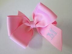 Single Boutique Hair Bow embroidered with Initial by preciouscurls