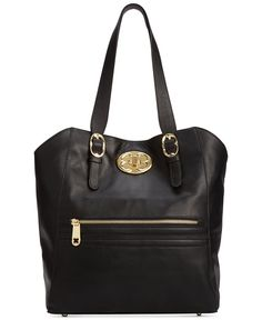 """Emma Fox Classics Leather Vertical Tote - Tote Bags - Handbags & Accessories - Macy's --11-1/2"""" W x 13"""" H x 5"""" D. with 11"""" drop handle good for over shoulder. Sale 206$"""