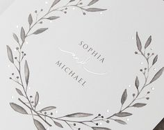 Marble Grey with Silver Foil Watercolor Wedding Day Invitation Digital Handmade Personalized with Envelopes Watercolour - sample