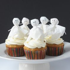 These ghoulish tissue-paper ghosts are a ghoulish way to top a treat!