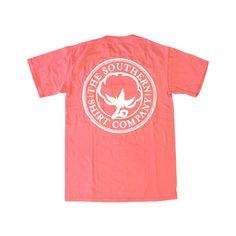 Signature Logo Coral ($30) ❤ liked on Polyvore featuring tops, t-shirts, shirts, tees, crewneck t shirt, coral shirt, short-sleeve shirt, jersey shirts and jersey t shirts