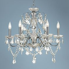 Love this for my dining room.    Vienna Full Spectrum Chrome and Crystal Chandelier | LampsPlus.com