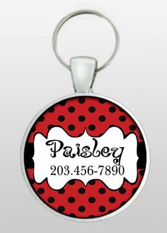 Custom Pet ID Tag - Dog ID Tag - Custom Name & Phone Number - Red with Black Dots - Vintage Scroll Design - Design No. 117