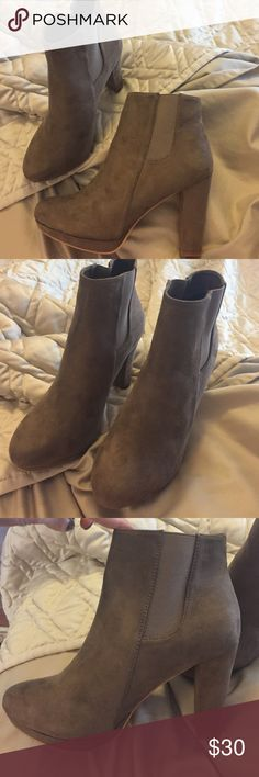 Taupe suede bootie Purchased from Red Dress Boutique. Never worn. Size 9. I needed a smaller size and return window expired. red dress boutique Shoes Ankle Boots & Booties