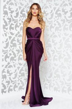 Ana Radu luxurious off shoulder dress from satin fabric texture with push-up bra accessorized with tied waistband purple Long Mermaid Dress, Mermaid Dresses, Evening Dresses, Prom Dresses, Formal Dresses, Dress Cuts, Satin Fabric, Purple Dress, Dream Dress