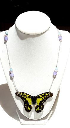 real butterfly wing necklace. Spring grass butterfly wing jewelry HARELEC