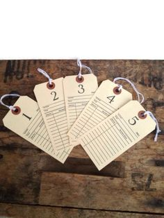 Wedding seat chart / library cards / hang tags / hand stamped labels /  story book wedding / love story wedding/ upcycled on Etsy, $7.00
