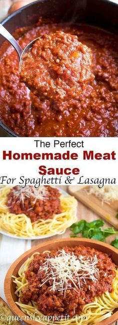 This Homemade Meat Sauce is thick hearty and super meaty! It uses a combination of lean ground beef and Italian sausage for the most amazing flavour. Serve it over spaghetti topped with parmesan or use it in a lasagna for an extra special dinner the whol Homemade Meat Sauce, Meat Sauce Recipes, Meat Sauce For Pasta, Recipe For Spaghetti Sauce, Spagetti And Meat Sauce, Lasagna Meat Sauce, Homemade Italian Spaghetti Sauce, Italian Meat Sauce, Dinner Ideas