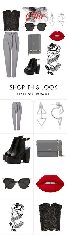 """""""Chic"""" by clara-jessalyn ❤ liked on Polyvore featuring Phase Eight, DKNY, Fendi, Lime Crime, Deandri and Costarellos"""