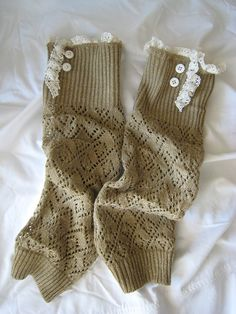 I could totally do this: lace and buttons embellished boot socks or leg warmers! Now to find me some socks...