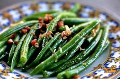 Green Beans with Shallots and Pancetta ~ Quick and delicious green beans recipe with fresh green beans, shallots, and pancetta. ~ SimplyRecipes.com