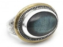 24K and Silver Labradorite Ring