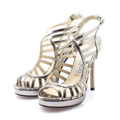 Keenan Metallic Caged Sandals Silver-I really need these in this color so bad!