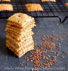 Wholegrain Flaxseed and Sesame crackers are crisp and delicious. The crackers are guilt-free and make a healthy snacking option. Enjoy plain or with cheese spread or with your favourite dip. These are vegan crackers. No Carb Recipes, Vegan Recipes, Flour Recipes, Vegan Food, Bread Recipes, Sugar Free Desserts, Dessert Recipes, Vanilla Tea, Low Carbohydrate Diet