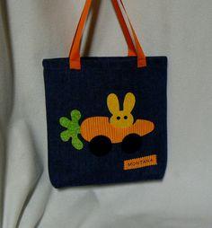 Tote Bag for Kids, Personalized Bag, Car Trip, Bunny, Carrot Car, Orange Applique, Toy Bag, Lunch Bag, Party Bag, Gift Bag, Overnight Bag