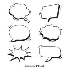 Set of empty speech bubbles for comics Free Vector Cartoon Speech Bubble, Adobe Illustrator, Bubble Drawing, Best Wallpapers Android, Bubble Quotes, Christmas Photo Booth, Kawaii Doodles, Graffiti Lettering, Hand Lettering