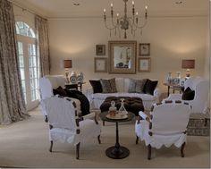Slipcovers, chair, Slipcovered chairs, DIY slipcovers, Custom slipcovers, living room, neutral, color palette.