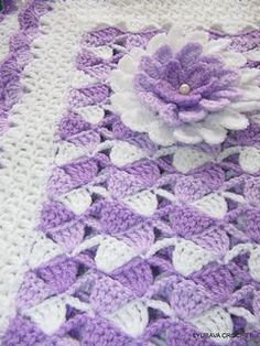 Beautiful Lilac Baby Blanket With Flower: crochet blanket pattern for purchase