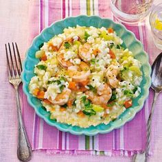 Risotto met groente en garnalen Pasta, Cooking Recipes, Healthy Recipes, 20 Min, International Recipes, Guacamole, Potato Salad, Macaroni And Cheese, Clean Eating