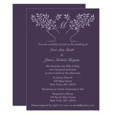 Monogram Wedding Invitations Eggplant Tree of Life Wedding Invitation