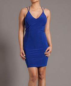 This Blue Cutout Strap Sheath Dress - Women by Symphony is perfect! #zulilyfinds