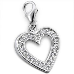 Crystal Heart Real Sterling Silver Clip On Charm