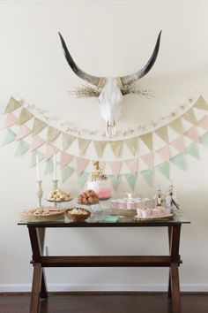 Pastels and rustic inspiration: http://www.stylemepretty.com/living/2015/03/02/woodland-animal-themed-1st-birthday-party/ | Photography: Feather & Light - http://www.featherandlight.com/