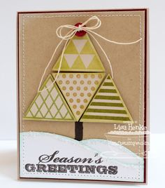 I love this idea by Lisa Henke, creating a Christmas tree using the new MFT Trendy Triangles