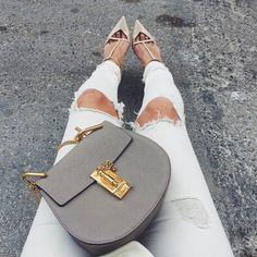 Chloe Drew Bag, White Ripped Jeans