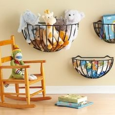 plant holders made into kids storage on the wall