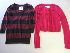 Abercrombie & Fitch Kids Sweaters L Lot 2 Red Blue Pink Girls #AbercrombieFitch #PulloverCardigan