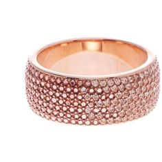 Fossil Pave Crystal Band Ring (415 ZAR) ❤ liked on Polyvore featuring jewelry, rings, rose gold, fossil jewelry, crystal band ring, rose gold tone jewelry, crystal pave ring and pave crystal jewelry