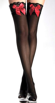 Black & Red Satin Bow Thigh-High Stockings, we can do this with any pair of stockings am ribbon