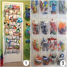 Hanging behind doors ~ 5 Smart Ways to Organize Toys in your Home http://www.incredibleinfant.com