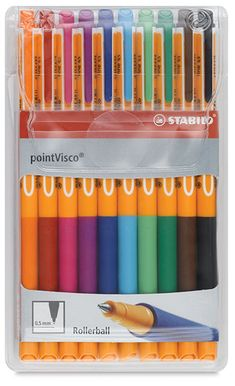 The Point Visco is a new take on the classic Stabilo Point 88 design. A rollerball pen with an innovative gel formula that is smudgeproof and blot-proof, the Stabilo Point Visco Pen glides on paper and dries quickly. Stabilo Point, Stabilo Boss, Cute School Supplies, Craft Supplies, Office Supplies, Pens And Pencils, Paper Source, Rollerball Pen, Pen And Paper