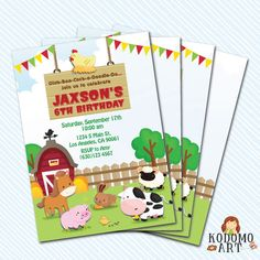 Digital Printable Farm Birthday Invitation. Girl by kodomoartshop