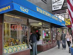 Andersonville in Chicago, my home for many years. Wikstrom's for Swedish specialties; Andies, Reza's, and the Middle Eastern Bakery for great Middle Eastern Food; get your Swedish on at the Swedish American Museum with a great kids play area; Hopleaf  & Simon's for libations; Kopi for coffee; Women & Children First book store & tons of great stores for shopping.