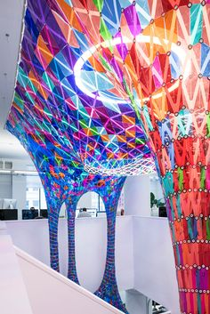 Colorful Stained Glass Installation by Softlab – Fubiz Media Glass Installation, Artistic Installation, Public Space Design, Column Design, Stained Glass Windows, Light Art, Color Theory, Public Art, Decoration