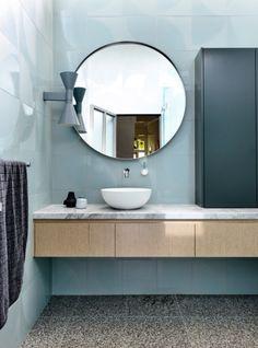 Australian Interior Design Awards Pale Blue Wall Tiles, Terrazzo Floors, Timber and White vanity Australian Interior Design, Interior Design Awards, Bathroom Interior Design, Interior Decorating, Decorating Ideas, Decorating Websites, Interior Doors, Bad Inspiration, Bathroom Inspiration